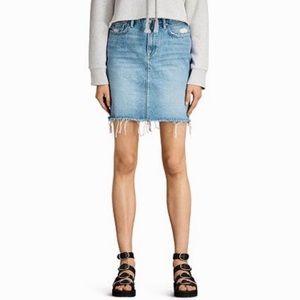 Allsaints KIM Denim Skirt Light Wash Jean Skirt 0